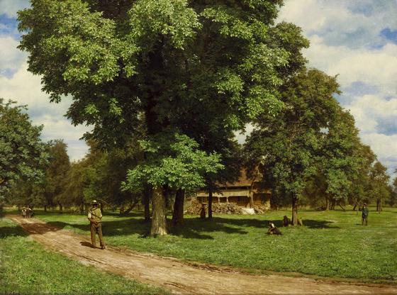Robert Zünd, Haus unter Nussbäumen (Schellenmatt), 1863, Öl auf Leinwand.