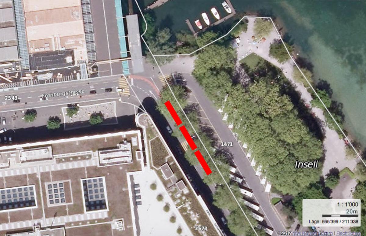 Entlang des Inseliquais kann sich der Stadtrat maximal drei bis vier Halteplätze für Cars vorstellen.