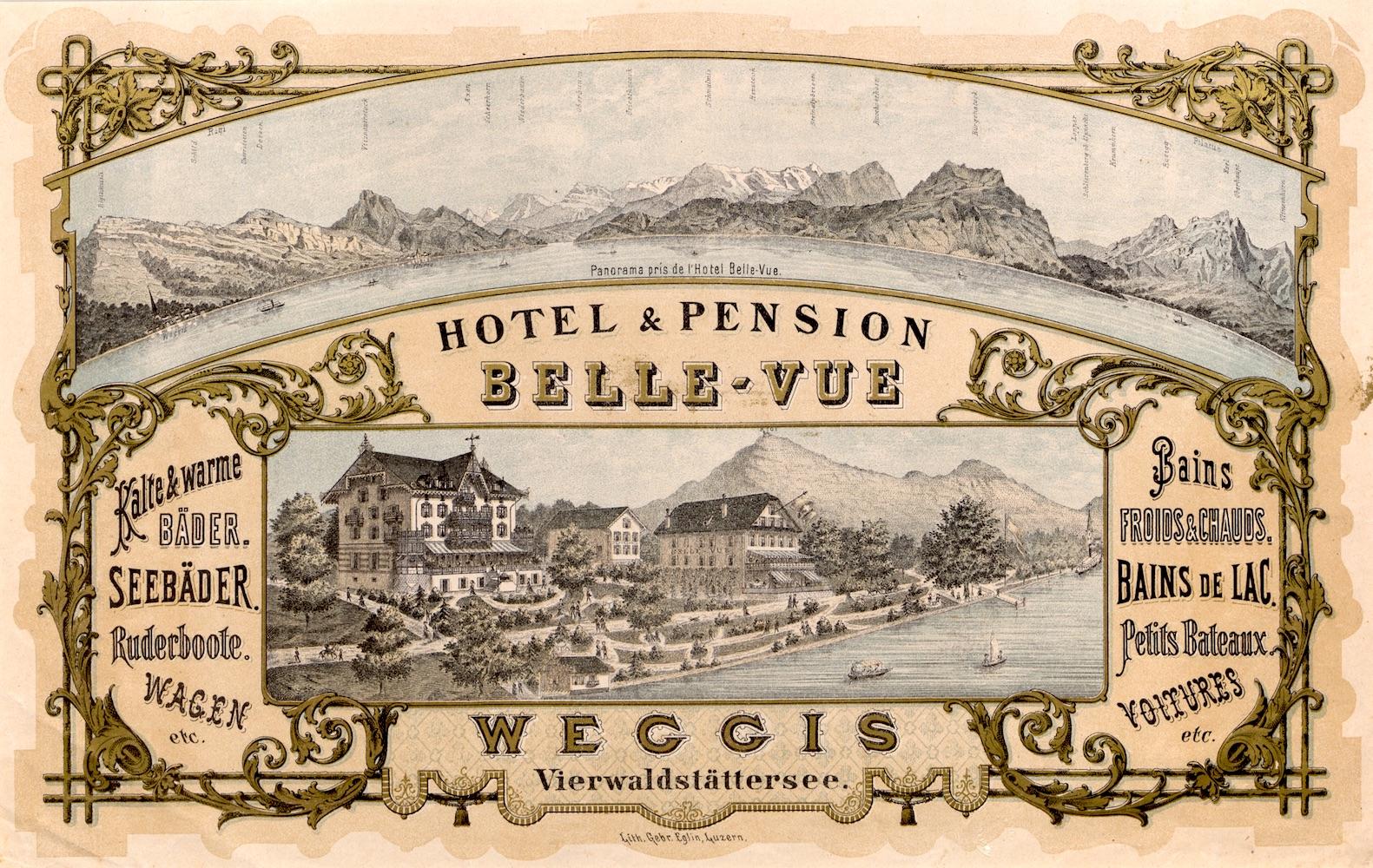Postkarte von 1880 für das Hotel, das damals noch «Bellevue» hiess.