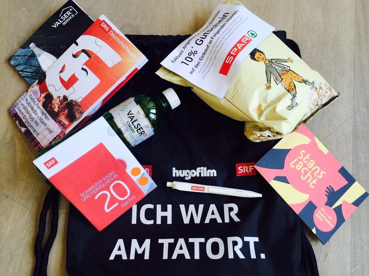 Kleiner Sack, grosse Gefühle: «Ich war am Tatort!»-Goodie-Bag.
