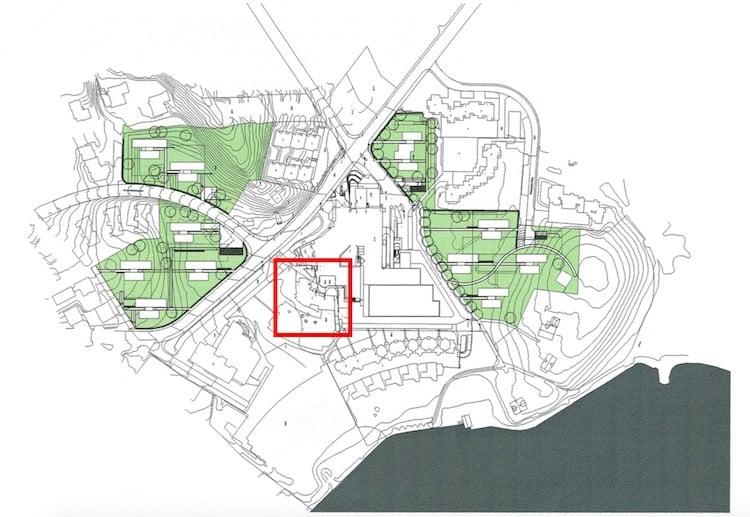 Der Besitz der Familie von Schumacher im Quartier Langensand/Matthof: Die grün markierten Flächen kennzeichnen bereits realisierte bzw. geplante Überbauungen. Rot umrandet das Aalto-Hochhaus.