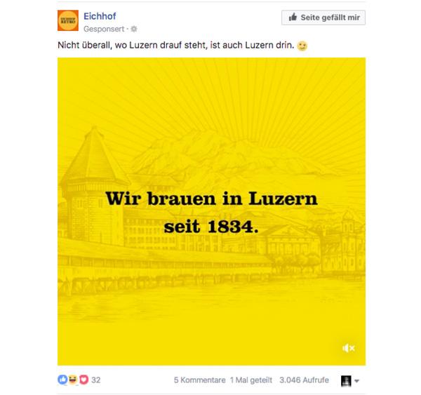 Eichhof reagiert auf «Lozärner Bier»-Urteil mit dieser Werbung auf Facebook.