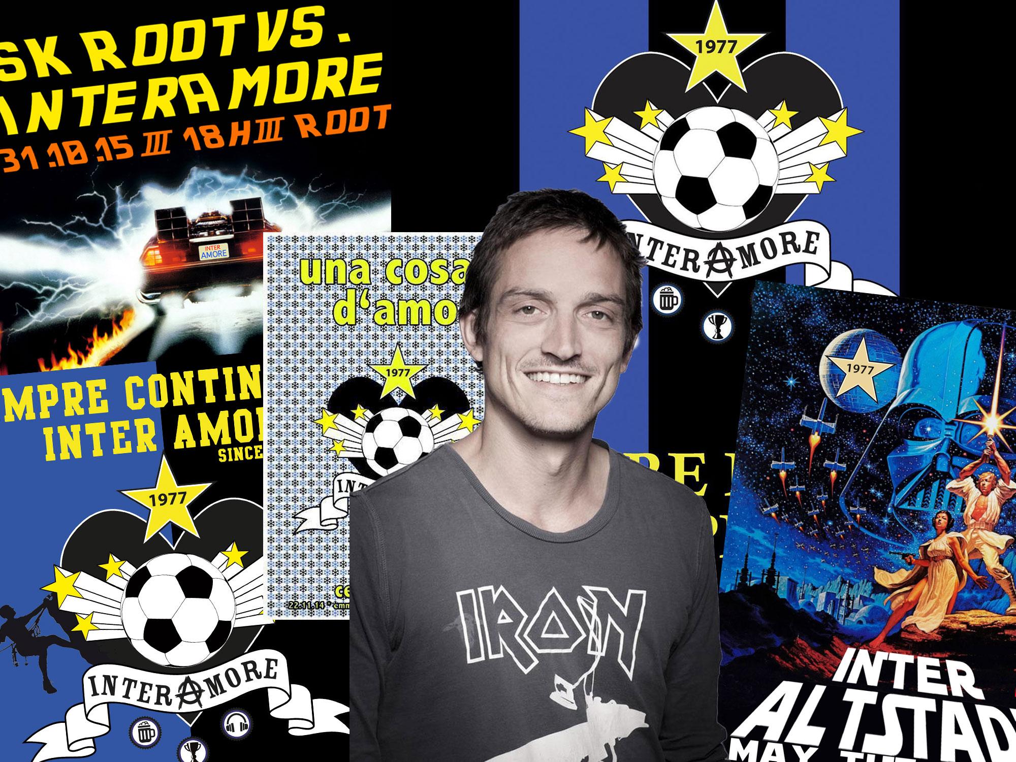 Marco Liembd inmitten seiner Plakate, die er für seinen Club gestaltet. (Bilder: zvg/Montage: zentralplus)