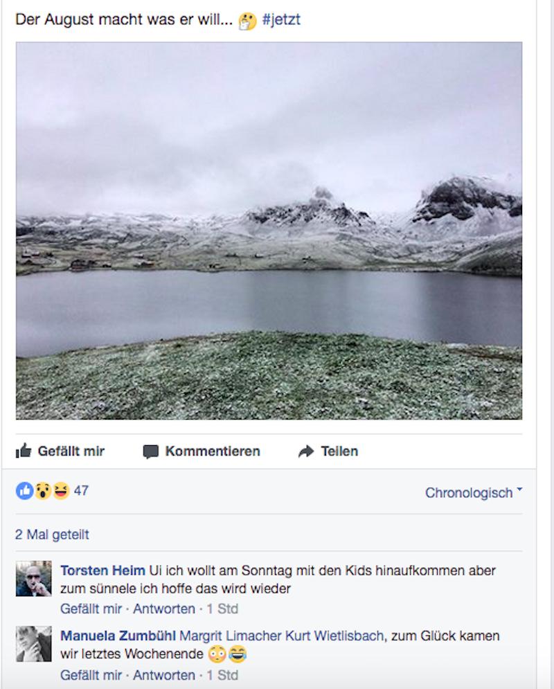 Auf den Facebook-Post der Bahnen Melchsee-Frutt hin hofft ein User, dass sein Ausflug nun nicht flachfällt.