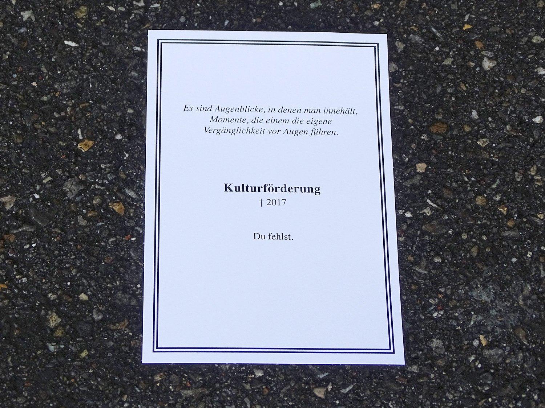 Flyer wurden verteilt: «Kulturförderung, du fehlst.»