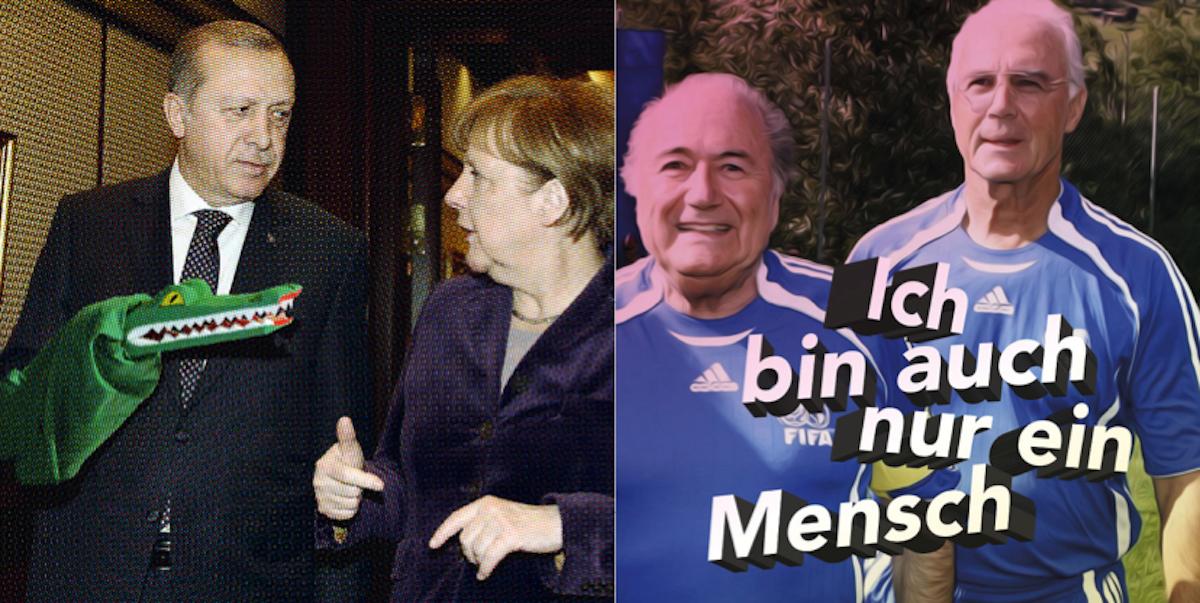 Da lacht das Krokodil wie auch der Bibelkenner: Merkel versus Erdogan und Blatter mit Beckenbauer.