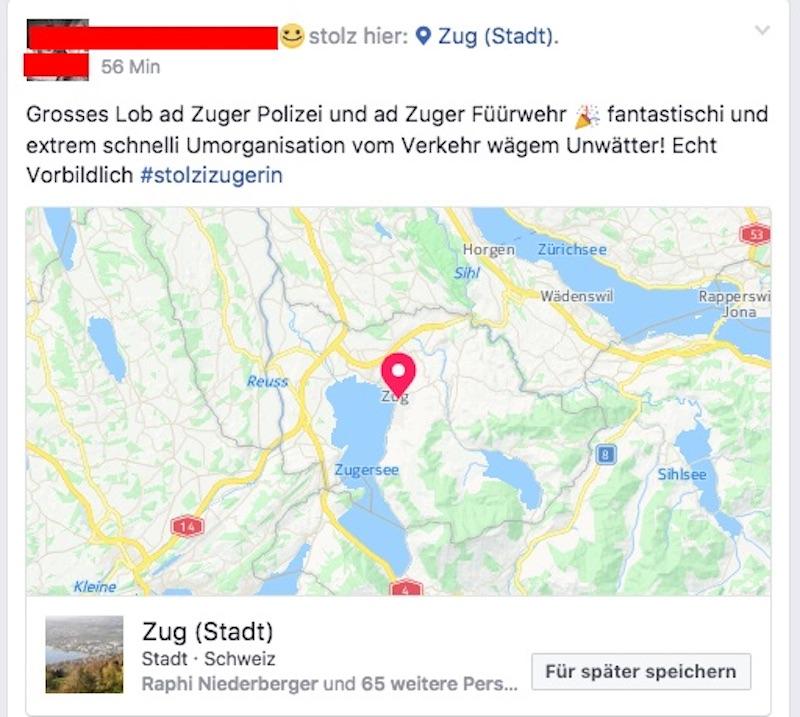 In einer Zuger Facebook-Gruppe gibts viel Lob für die Polizei.