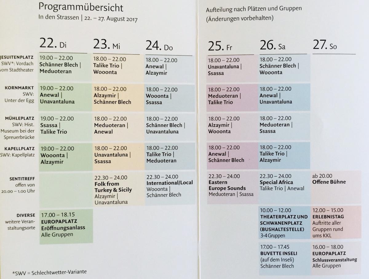 Das Multikulti-Programm in der Übersicht.