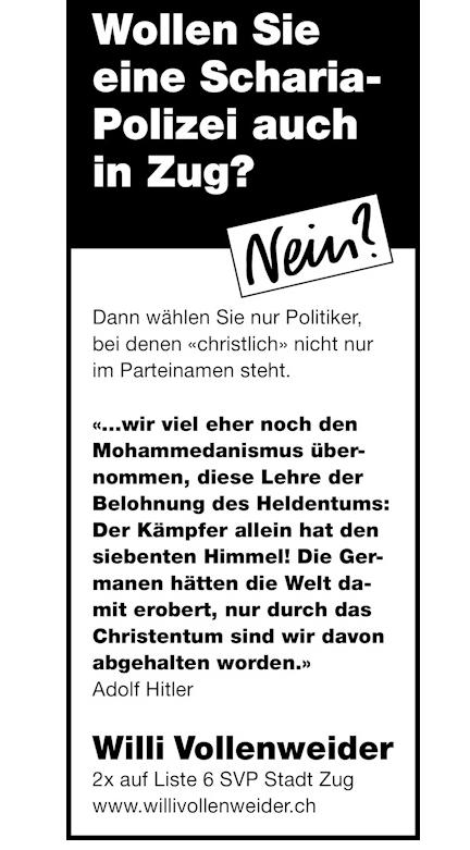 Willi Vollenweider wirbt in seinem Wahlkampf-Inserat mit dem Zitat Adolf Hitlers.