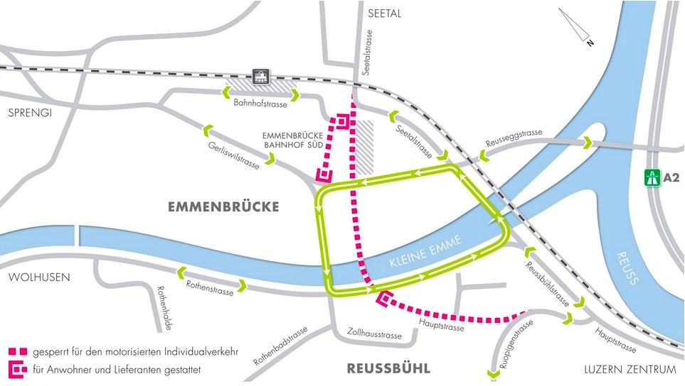 Ein grosser Kreisverkehr: So verkehren die Autos am Seetalplatz ab Sonntag. Die mittlere Brücke ist für Busse und Velos reserviert.