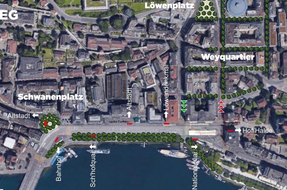 Die Zufahrt zum Seeparking ist vor dem Luzerner Hof geplant – laut Initianten ist das trotz enger Platzverhältnisse machbar.