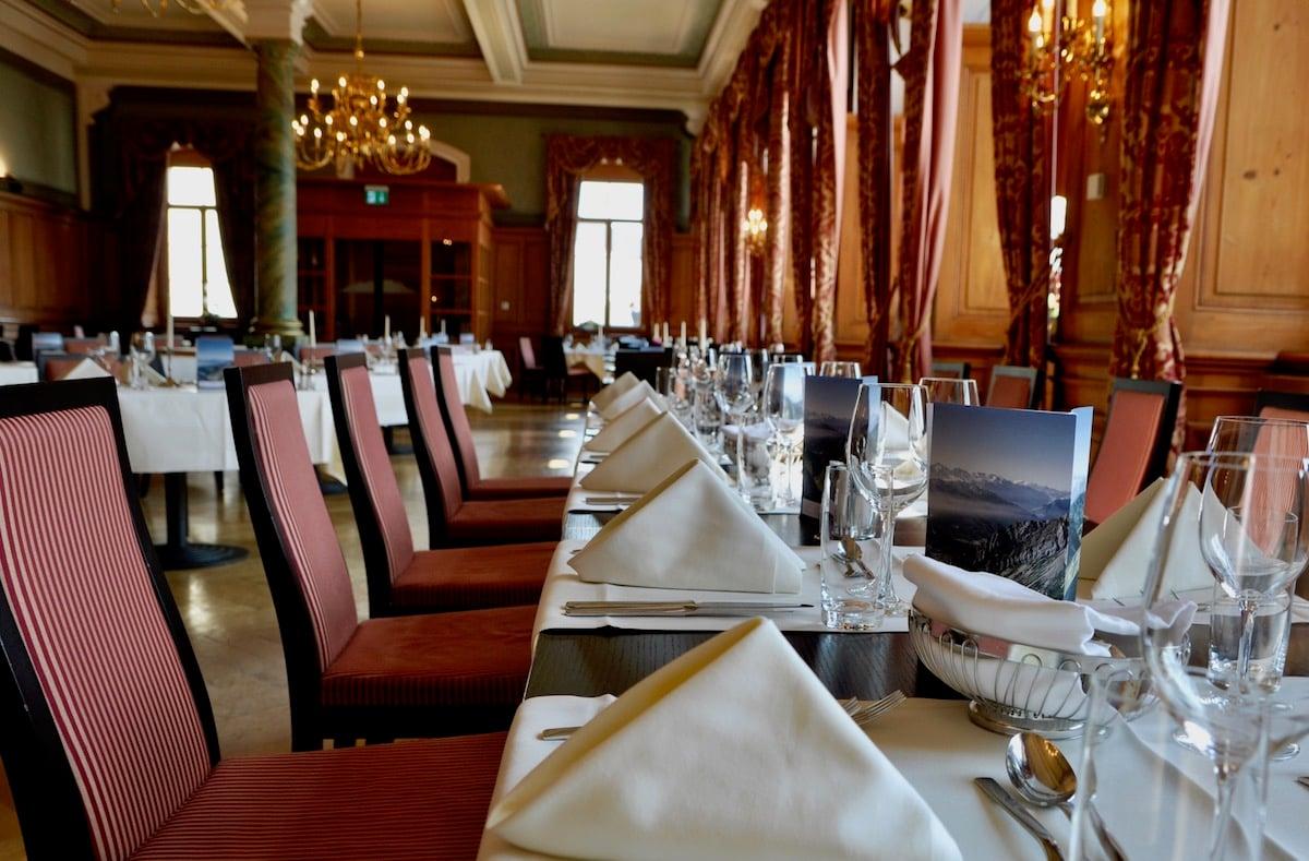 Im «Queen-Victoria»-Saal des Pilatus-Kulm-Hotels gibt es am Samstag ein Viergang-Menu für «Pilatus-On-The-Rocks»-Besucher.