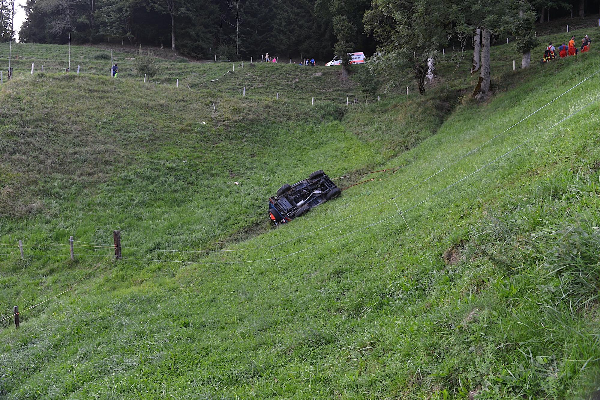 Mitten ins Wiesland abestürzt war der Wagen, nachdem er von der Strasse abgekommen war. Die 89-jähirge Beifahrerin verunglückte tödlich.