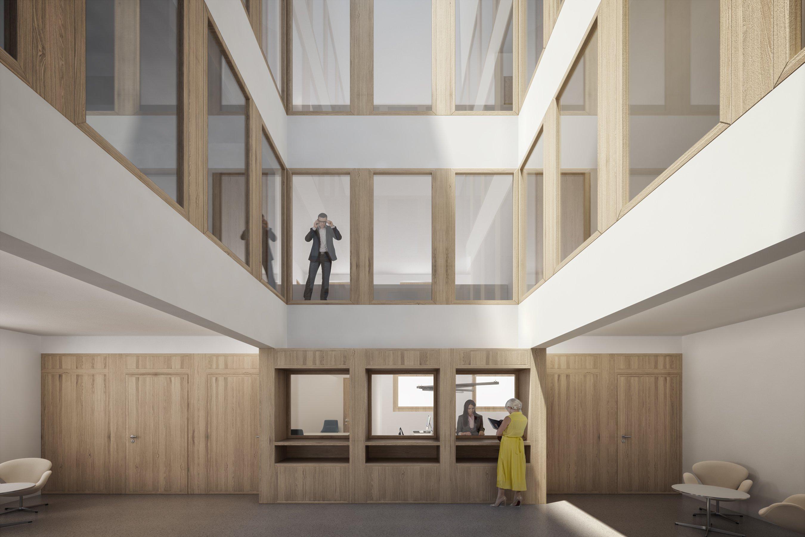 So sähe die neue Empfangshalle im Verwaltungszentrum von Ruswil aus. (Visualisierung: Studio 12)