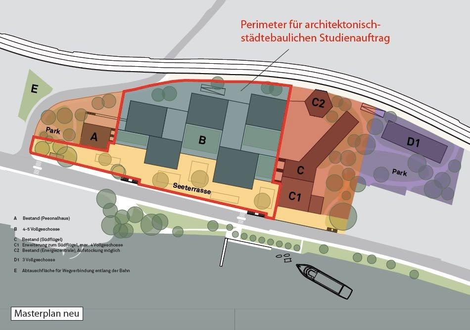 Altes Kantonsspital Zug: Geplant sind sieben Baubereiche. Auf dem Baufeld B ist noch Platz für Träumereien.