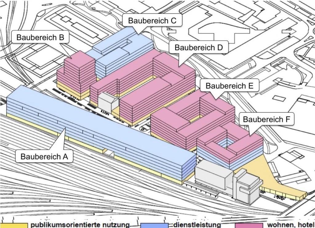 Die verschiedenen Etappen des Projekts. Das Hochhaus ist im Baubereich B vorgesehen.