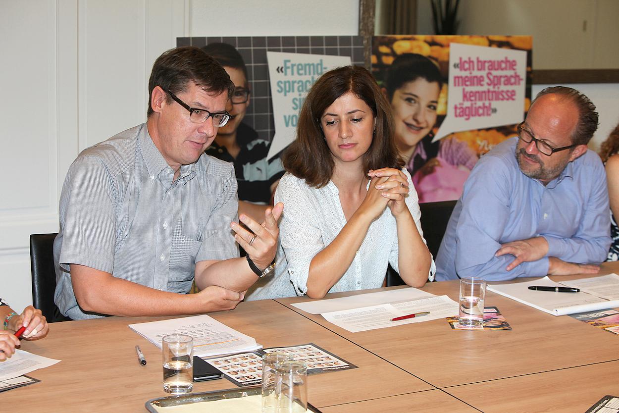 Engagieren sich im Nein-Komitee zur Fremdsprachen-Initiative (von links): Ludwig Peyer (CVP), Ylfete Fanaj (SP) und Andreas Moser (FDP).