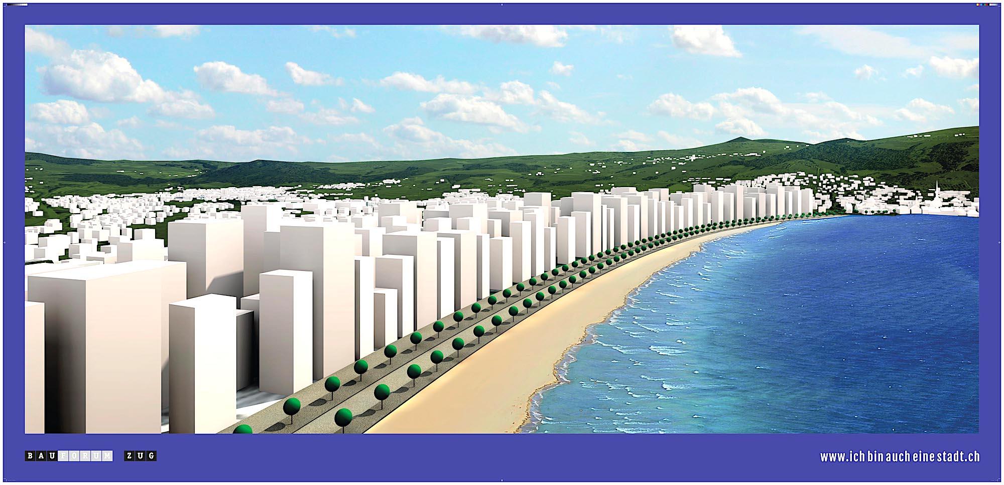 Eine verrückte Vision des Bauforums Zug in Sachen Hochhäusern in Zug: Die Copacabana am Zugersee.
