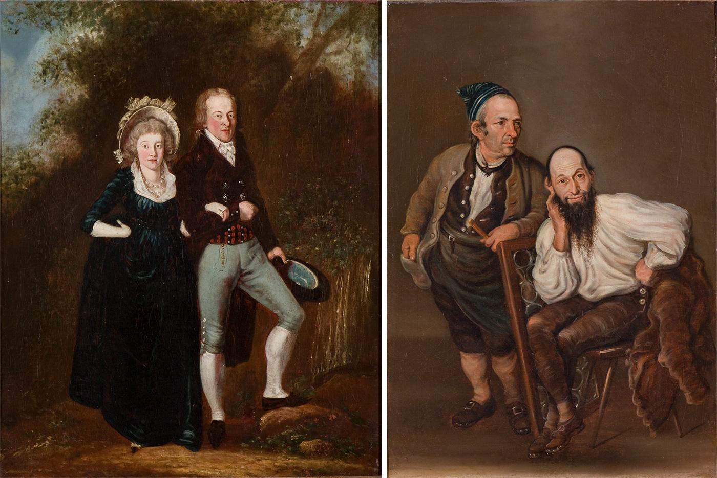 Zwei Gemälde von Josef Reinhard: «Elegantes Paar in Landschaft» (links, undatiert) und «Oswald Isenschmied und Josef Bachmann aus Merenschwand» (1794).