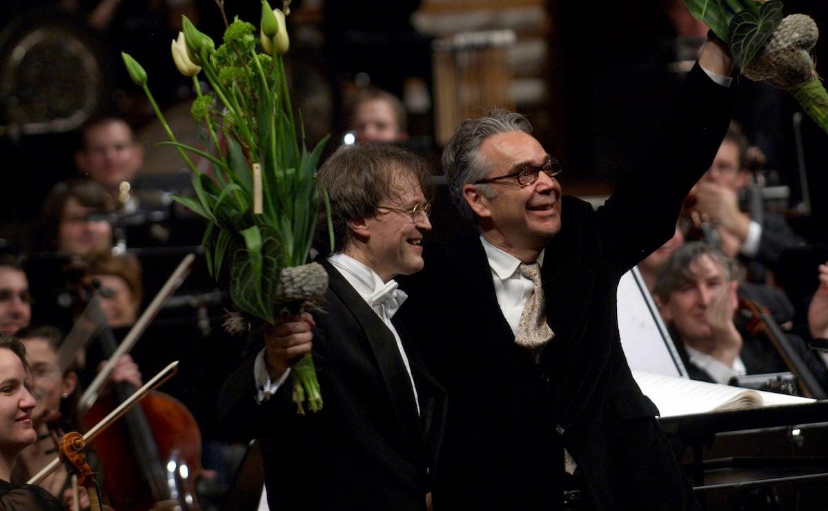 Ludwig Wicki (links) und Howard Shore nach der Weltpremiere von «Fellowship of the Ring» im KKL Luzern im Jahr 2008.