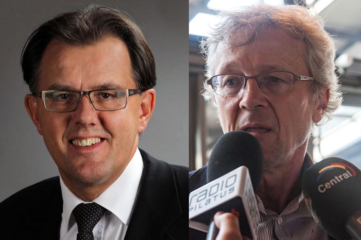 FDP-Nationalrat Peter Schilliger (links) und Stadtrat Adrian Borgula (Grüne).