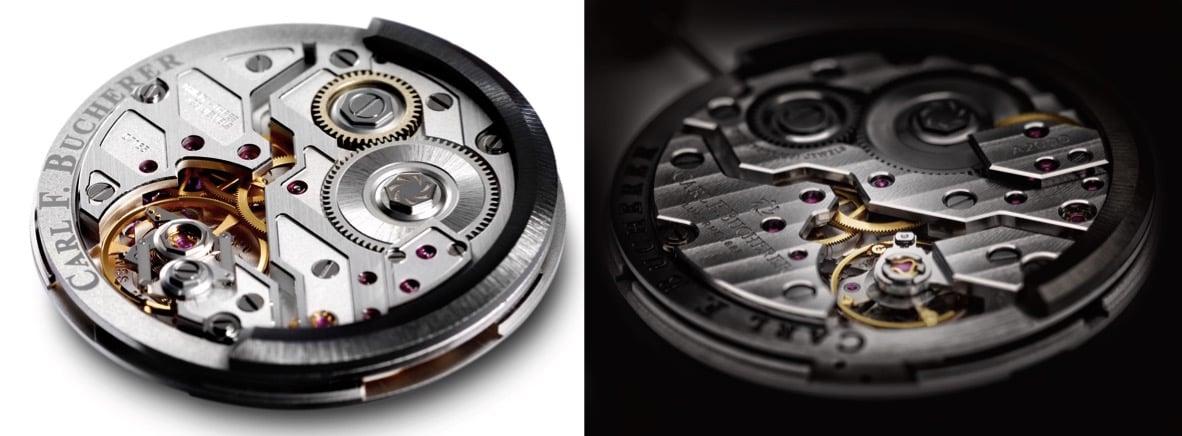 Die beiden Manufakturwerke von Carl F. Bucherer: A1000 (links) und A2000.