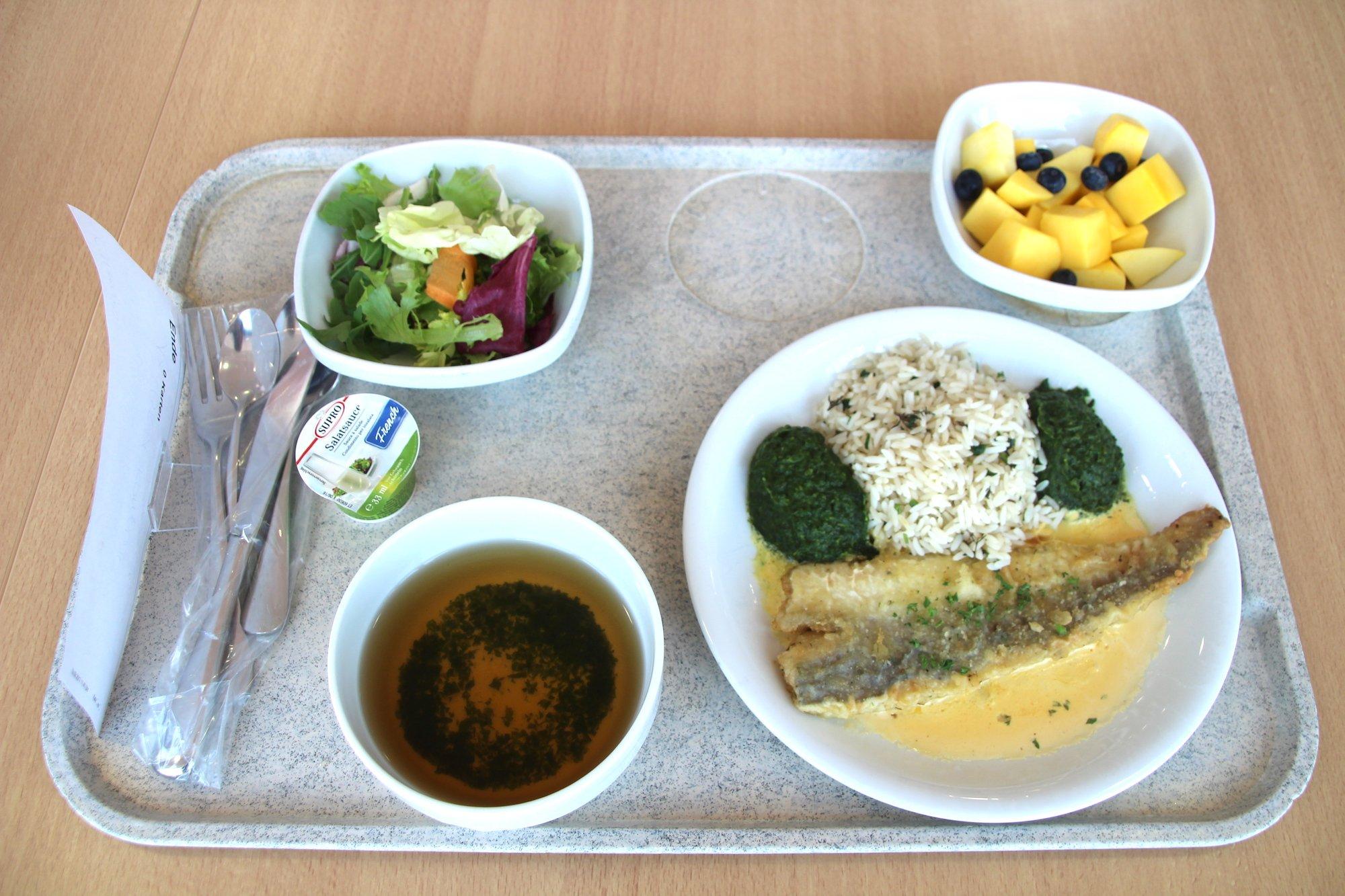 Sehr appetitlich: Gebratener Atlantik-Meerhecht mit Kräuterreis und Spinat, Salat und Mango-Dessert.