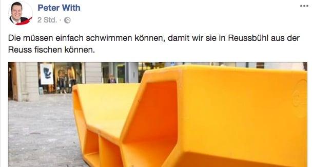 Peter With nimmt die Sitzmöbel-Aktion der Stadt Luzern aufs Korn.