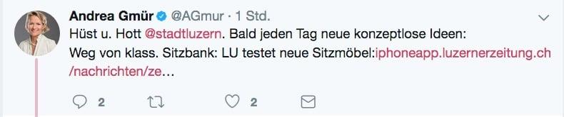 Andrea Gmürs Tweet zum Thema.