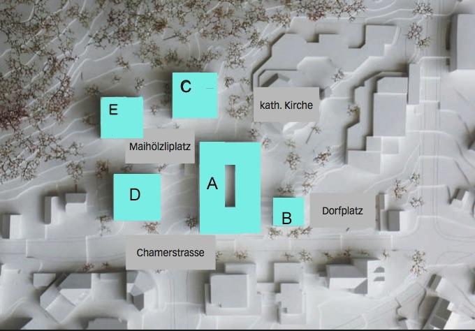 Das Modell zeigt, welche Neubauten entstehen sollen. Die Gebäude A und C wird die Jego AG bauen, B wird von der Katholischen Kirchgemeinde genutzt, D und E will die Gemeinde allenfalls später umsetzen.