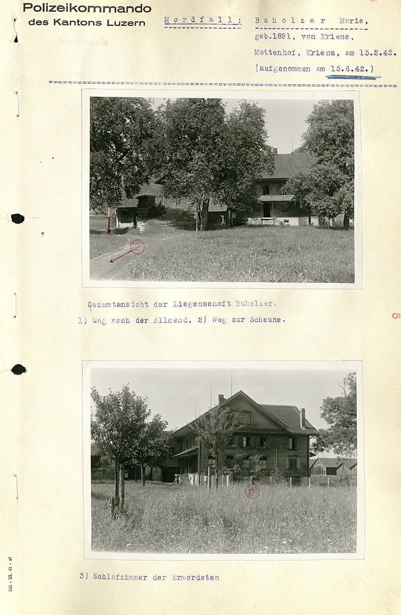 Tatort-Fotos, Mattenhof in Kriens , 15. Juni 1942