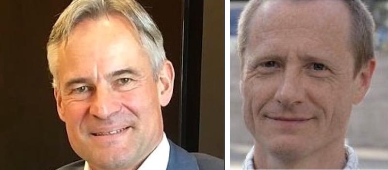 Nicht derselben Meinung: Der Zuger Volkswirtschaftsdirektor Matthias Michel (links) und Martin Stuber, Co-Präsident von Pro Bahn Zentralschweiz.