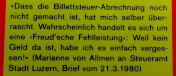 Zahlreiche witzige Briefe von der ehemaligen Kleintheater-Leiterin Marianne von Allmen finden sich im Archiv.