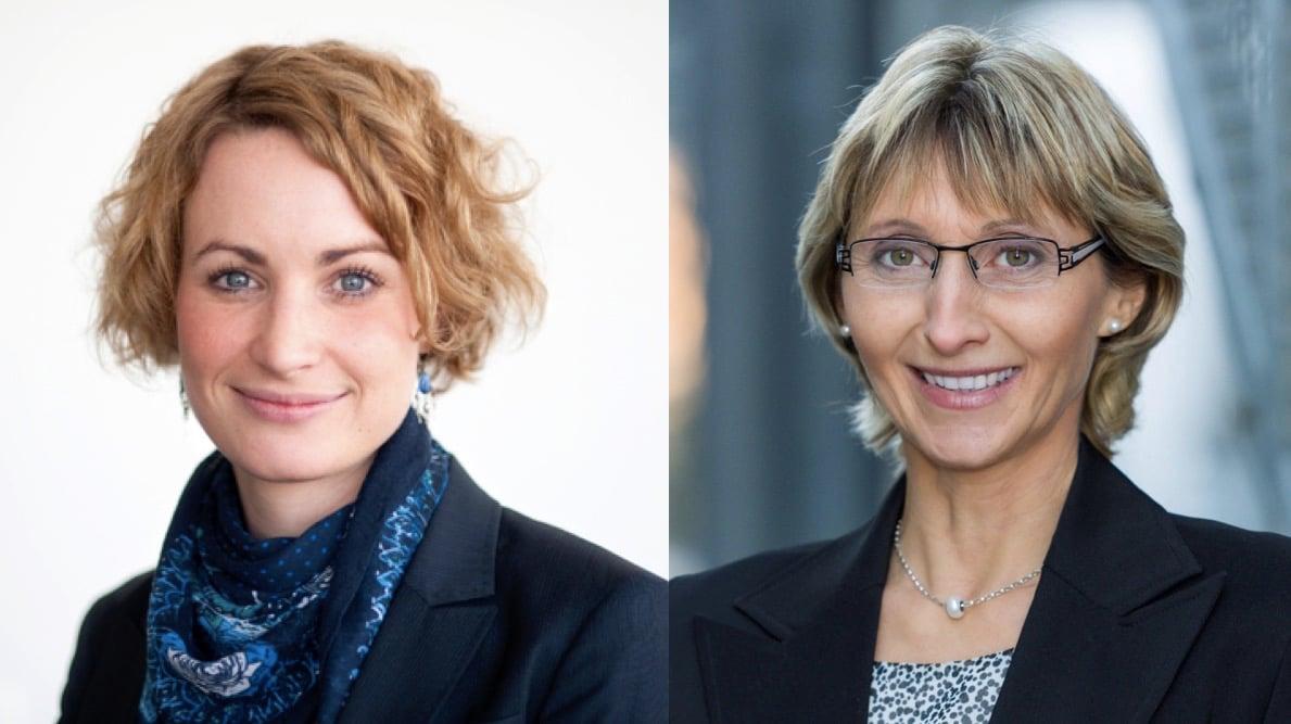 Weisen auf die gesetzlich vorgeschriebenen Grenzwerte hin, die eingehalten werden: Swisscom-Mediensprecherin Annina Merk (links) und Johanna Bundi, Präsidentin des Stiftungsrates der Sterbekasse.