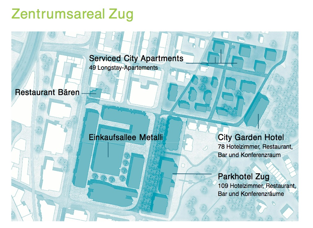 Das Areal der Zug Estates ist ist so gross wie neun Fussballfelder und soll in den nächsten Jahren verdichtet bebaut werden. Kommt hier ein weiteres Luxushotel?
