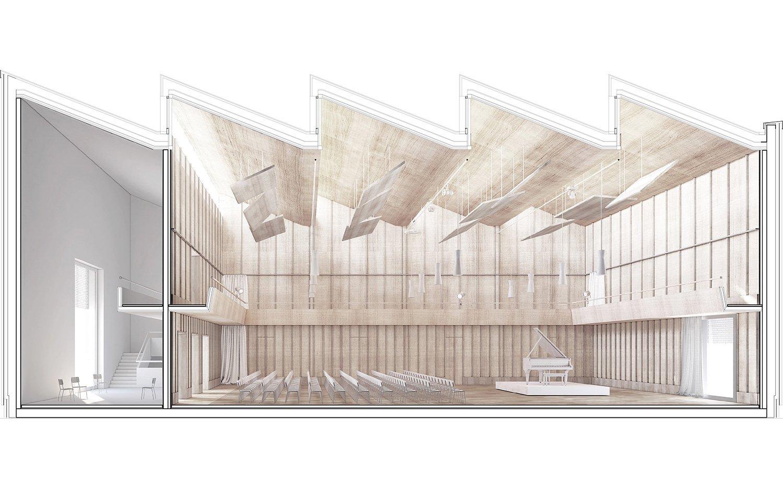 Das Herzstück: der grosse Saal im dritten Stockwerk, wo das ganze Orchester proben kann.