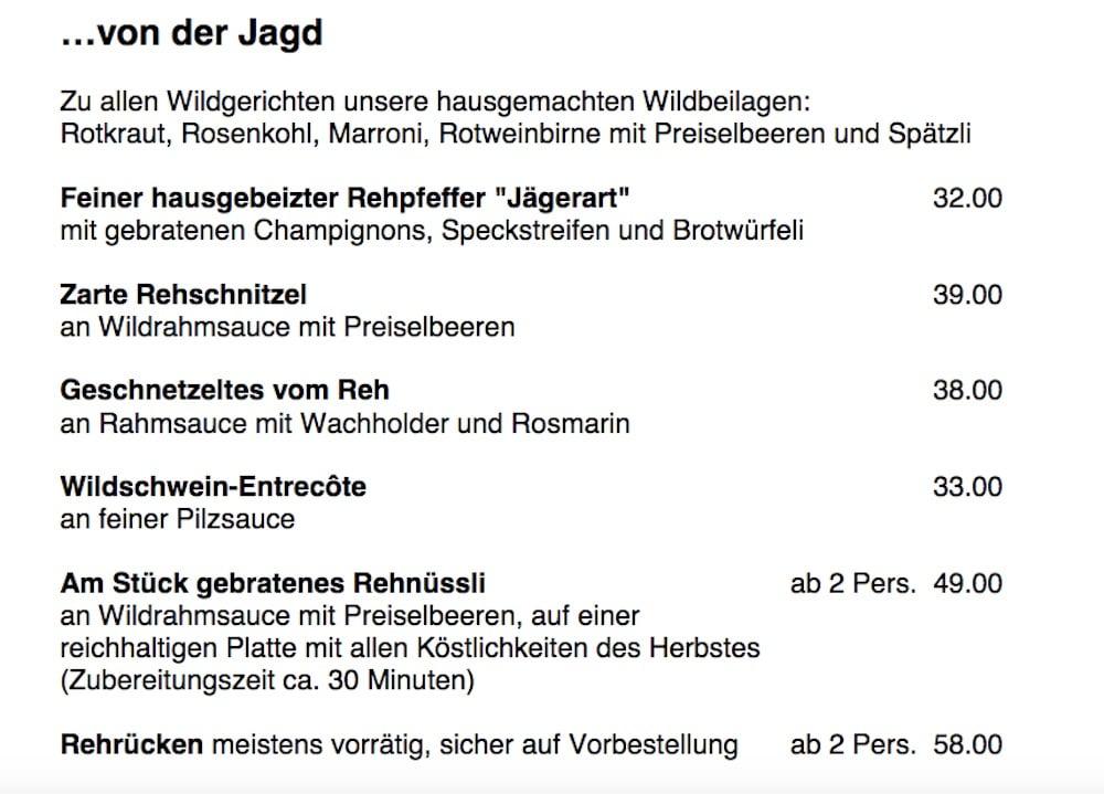 Das Wild-Angebot im Ochsen.