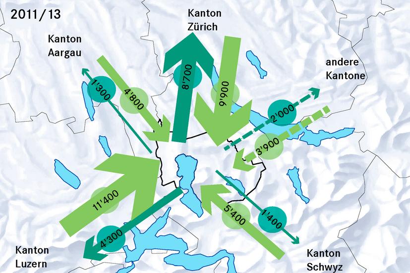 Pendlerströme: Nicht nur zwischen Zürich und Zug, sodern auch zwischen Luzern und Zug sind Tausende unterwegs.