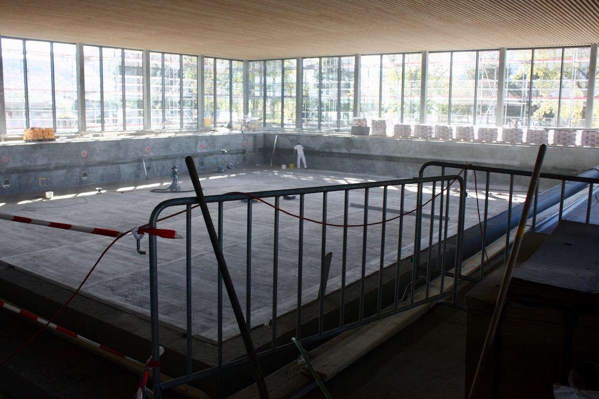 Noch werden im Schwimmerbecken keine Runden gecrowlt und keine Wasserballspiele ausgetragen.