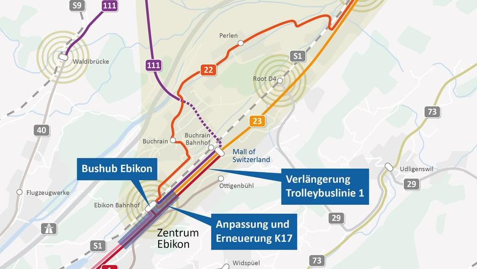 Die wichtigsten Verkehrsmassnahmen im Rontal in der Übersicht.