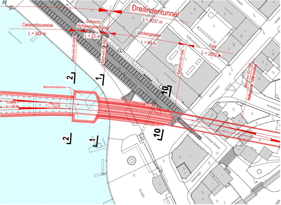 Hier würden die Geleise des Vorprojekts des Durchgangsbahnhofes unterirdisch durchführen.