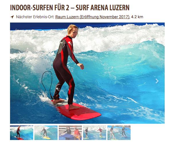 Jochen Schweizer warb mit der Eröffnung der Surf Arena in Luzern im November.