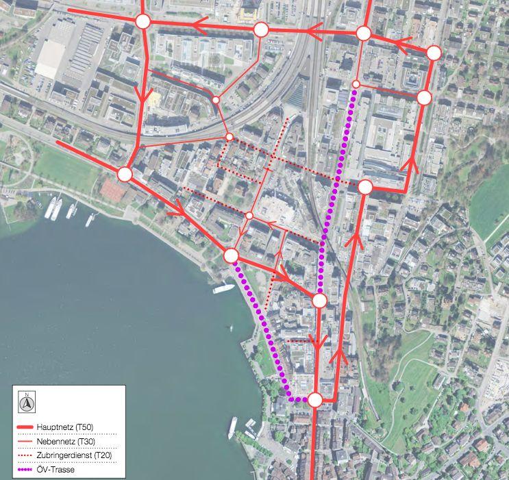 Verkehrsplanungs-Variante, die auf dem VCS-Vorschlag aufbaut: In der Vorstadt und auf der Baarerstrasse verkehren nur noch Busse. Die Poststrasse und ein Teil der Industriestrasse wird zur Hauptverkehrsader für die Autos.