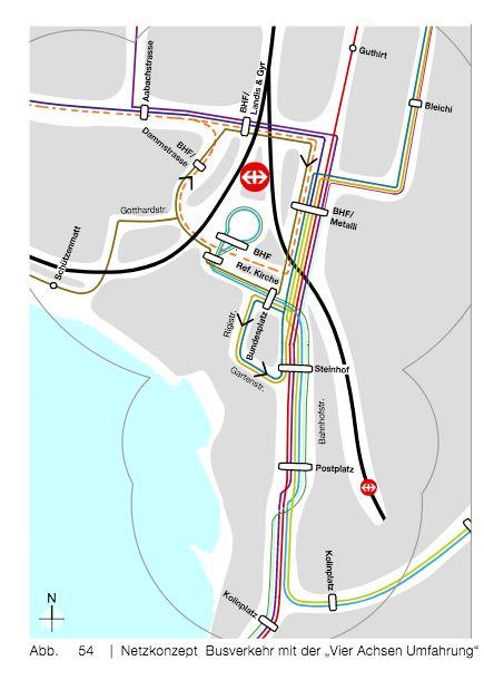 Vier-Achsen-Umfahrung: Über die Bahnhofsstrasse wird der öV gelenkt, die Autos müssen drum herum fahren.