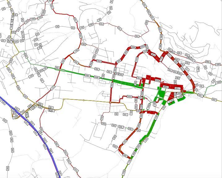 In dieser Grafik hat ein Student die Auswirkungen des VCS-Konzepts auf die künftigen Verkehrsströme berechnet. Grün: Weniger Verkehr, Rot: mehr Verkehr.