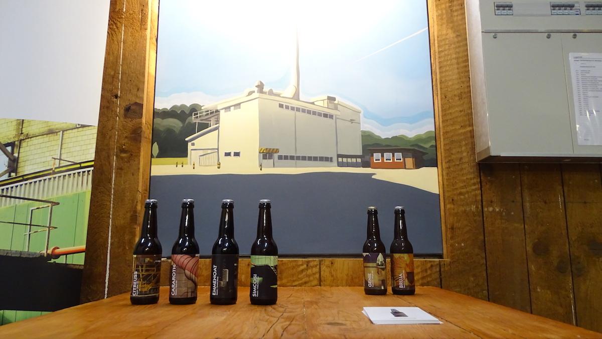 Die Biere sind eng verbunden mit lokalen Künstlern. Im Hintergrund: ein Bild von der Luzernerin Martina Lutz.