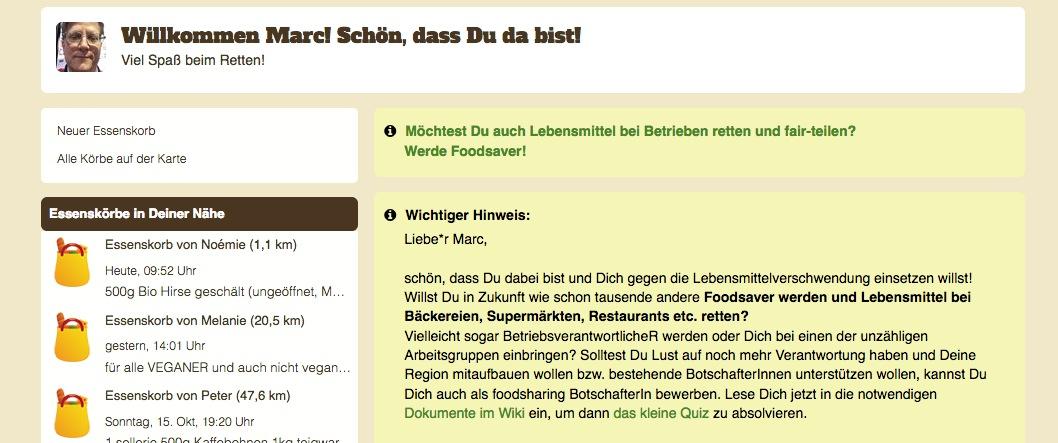 Auf der Webseites von Foodsharing kann man auch Angebote von Privaten in der Umgebung finden.