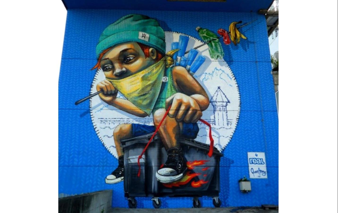 Das Wandbild von Veronika Bürgi und Marco Schmid alias «QueenKong» bei der alten Kehrichtverbrennungsanlage in Luzern.