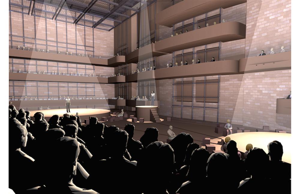 Auch diese Visualisierung zeigt eine Variante, wie der grosse Saal der Salle Modulable bespielt werden könnte.