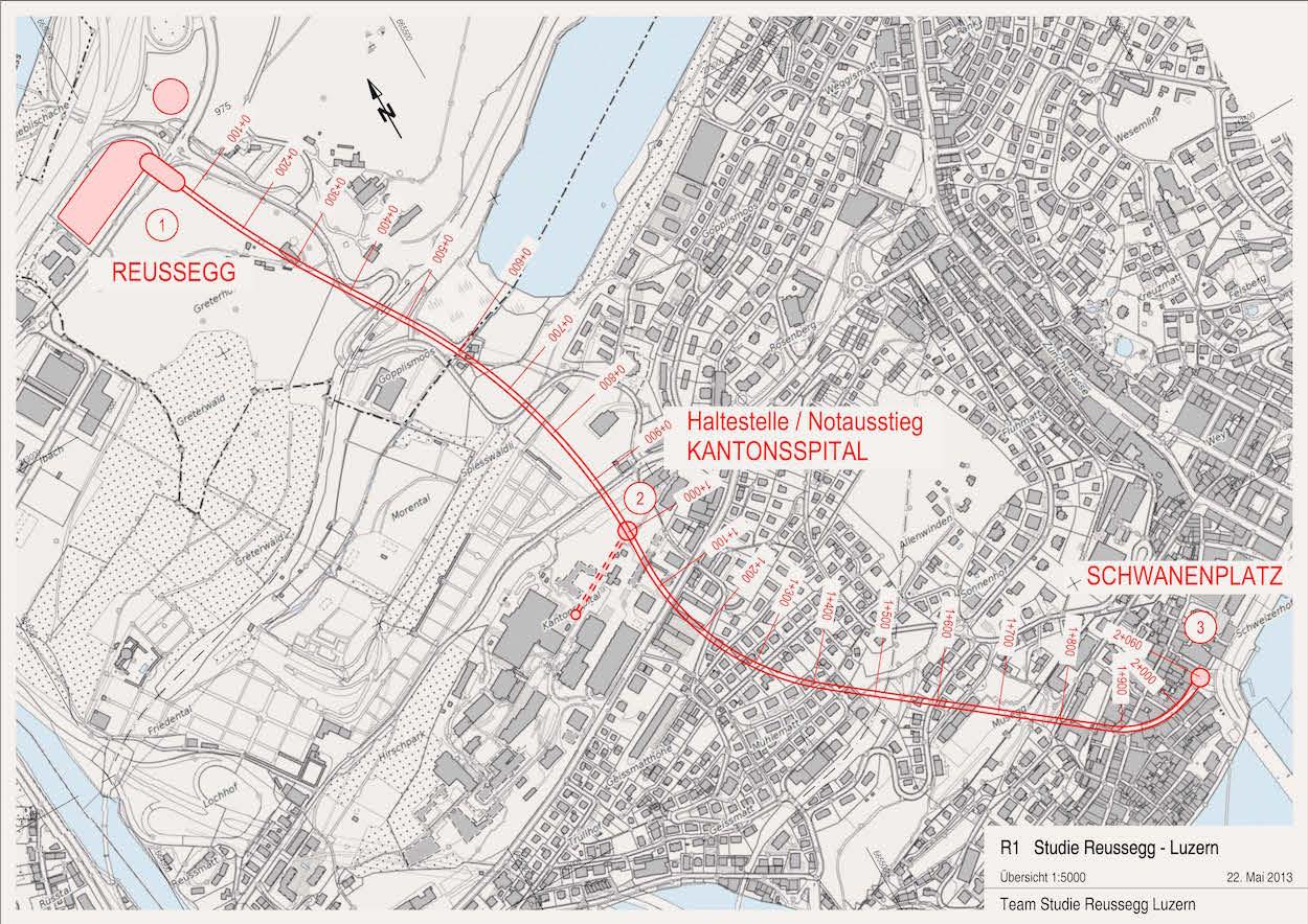 Die Metro soll, so die Idee der Initianten, Ibach mit dem Schwanenplatz verbinden und allenfalls beim Kantonsspital halten.